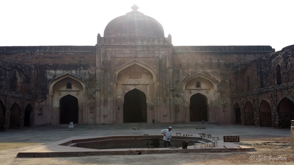 Khairul Manzil, a mosque and later a madarsa built by Maham Anga / Opposite Purana Qila