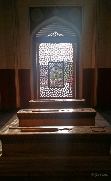 Jaali - Lattice screen - with symbolically cut out mihrab facing west or Mecca, over the marble