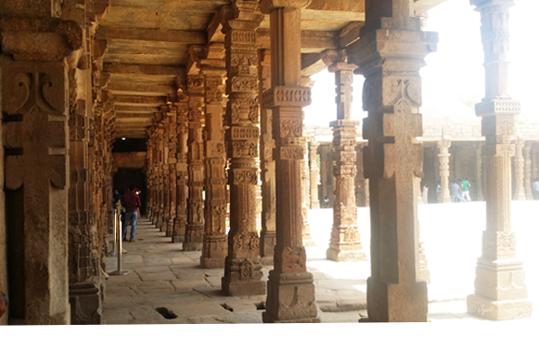 Carved columns of Quwwat-ul-Islam Mosque - Made of demolished Hindu-Jain temples / Qutb Complex, Delhi