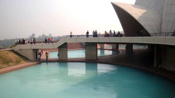 Nine ponds surround the nine sided  Lotus Temple/ Delhi.