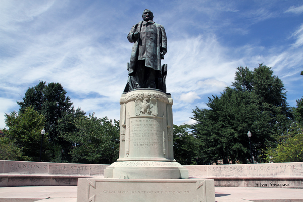 President Benjamin Harrison, Indiana's only president, stands on the south center edge of the University Park