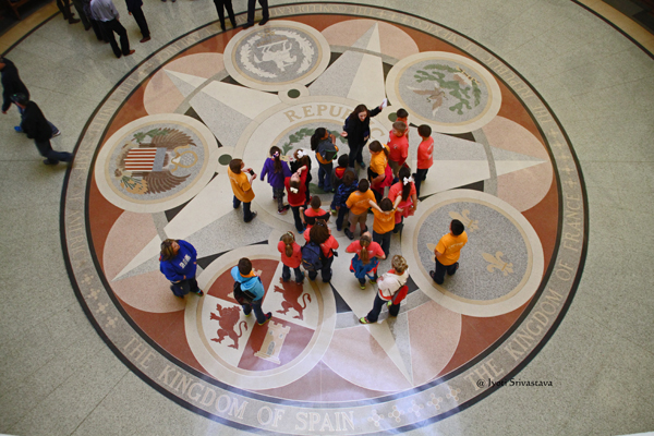 Terrazzo mosaic depicting the seals of the six nations that have governed Texas / Texas State Capitol