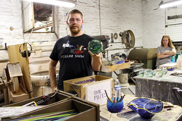 Tour guide Kevin shows us the different types of objects made at Kokomo Opalescent Glass factory