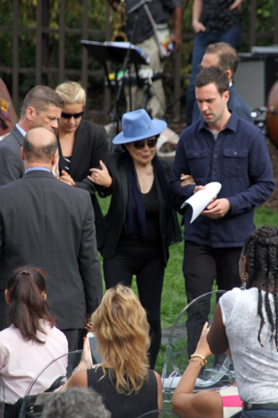 Yoko Ono arrives st the unveiling and dedication ceremony