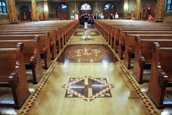 Inlaid hardwood floor / St. John Cantius Parish, Chicago.