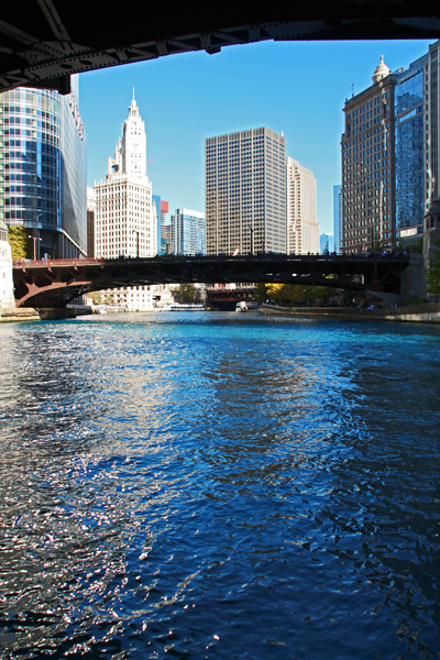 "Chicago River dyed ""Cubs blue."" / Cubs 2016 World Series Parade Day"