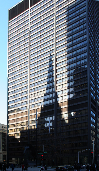 The church shadow on the Richard J. Daley Center,