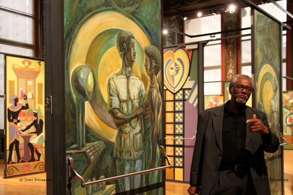 "Eugene ""Eda""  Wade at the exhibition of his Doors for Malcolm X College"
