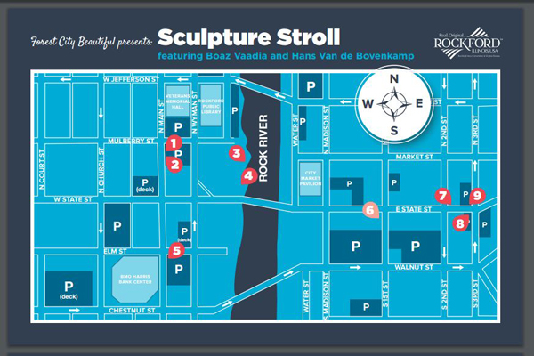 Rockford Sculpture Stroll map