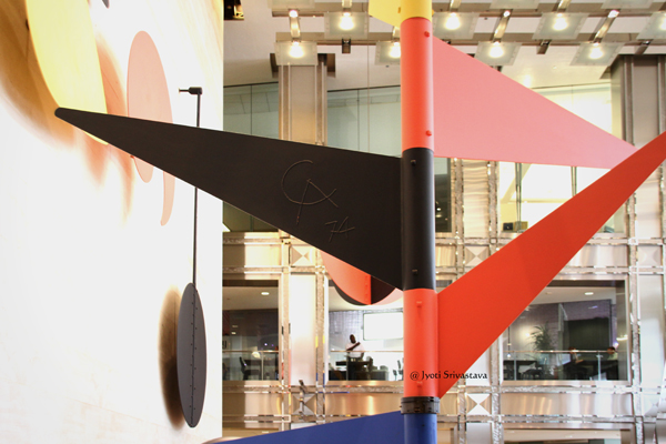 CA 74 - Calder signature on the black pennant / Universe - by Alexander Calder