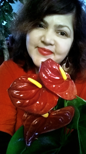 Selfie with Flower series: Anthurium