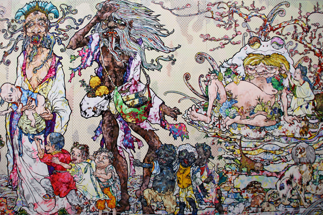 Deatils - Immortals Xio Shi, Lin Bu, Dong Feng, and Liu Hai with children and Dogs - by Takashi murakami