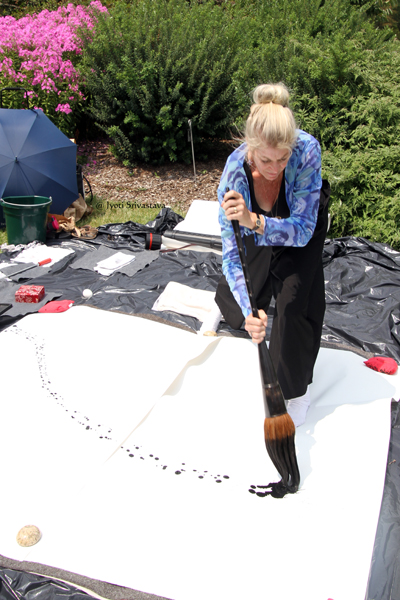 2017 Patricia Larkin Green making Sumi -E painting at Morton Arboretum video by Jyoti Srivastava