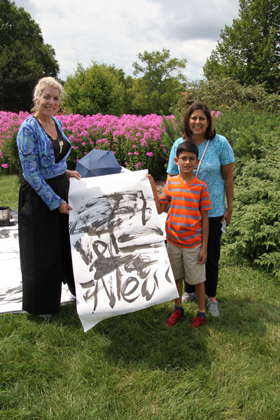 Sumi-E painting by Neel / with Neel's mom Charu and painter Patricia Larkin Green