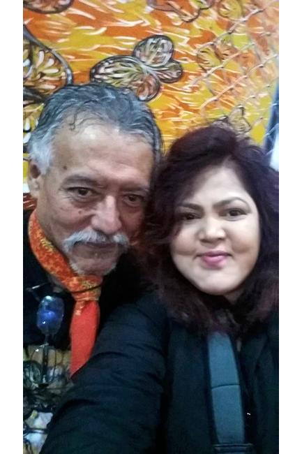 Selfie with artist-muralist Hector Duarte