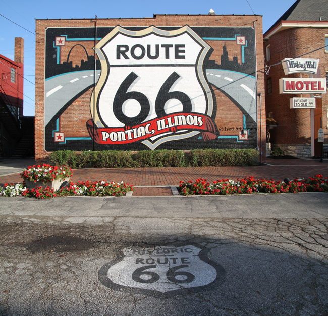 2017 day trip pontiac illinois route 66 shield mural for Route 66 mural