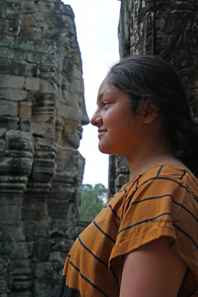 My niece Rhea with the face towers of Bayon / Siem Reap, Cambodia.