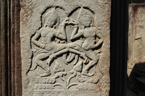 Apsara bas relief of Bayon / Siem Reap, Cambodia.